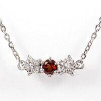 ガーネット流れ星ネックレス18金誕生石ダイヤモンド星ペンダント
