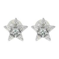 ピアス星10金ダイヤモンド一粒スターピアス