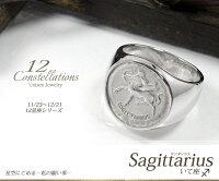 星座リングいて座(11/23~12/21)プラチナ指輪メンズユニセックスピンキー印台リング