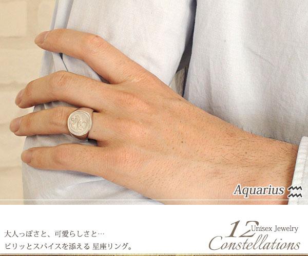 12星座リング みずがめ座 (1/20~2/18) 18金 指輪 ピンキー 印台リング メンズ ユニセックス父の日