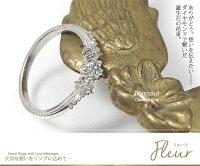 ダイヤモンド誕生石リング花プラチナ指輪ピンキーフラワーモチーフ花束