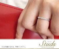 スタッズ10金ピンキーリング誕生石ロックミル鋲ペア指輪タンザナイト