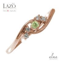ピンキーリング18金ペリドット誕生石ダイヤモンドミル指輪絆