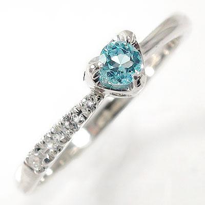 ブルートパーズ ダイヤモンド 一粒 指輪 リング ハート 流れ星 プラチナ900  ピンキーリング