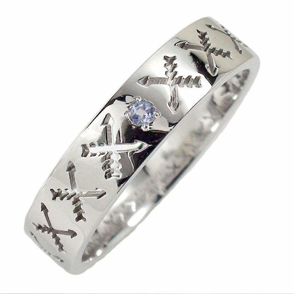 タンザナイト リング プラチナ 誕生石 インディアンジュエリー クロッシングアロー 弓矢 結婚指輪 指輪 マリッジリング  ピンキー レディース