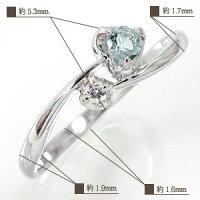 アクアマリンリングk18ホワイトゴールドハート指輪一粒流れ星ダイヤモンドピンキーリング