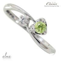 ペリドットリングk10ホワイトゴールドピンキーリングダイヤモンドハート指輪一粒流れ星