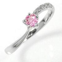 星リング10金指輪ピンクトルマリンダイヤモンド流れ星ピンキーリング