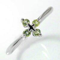 ペリドットリング指輪クロスプラチナ900ピンキーリング
