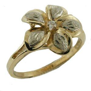 ハワイアンジュエリー14kゴールドダイヤモンド2トーンプルメリアリング
