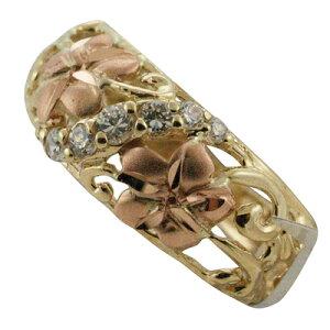 ハワイアンジュエリー14kゴールドダイヤモンド2トーンプルメリアデザインリング