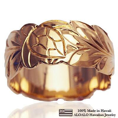 ハワイアンジュエリー リング 指輪 オーダーメイド しっかりした1.75mm厚 幅10mm 14K ゴールド ピンクゴールド バレルリング ハワイ製 手彫りリング メンズ レディース 結婚指輪 マリッジリング ウェディングリング 2号-28号