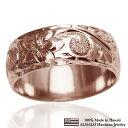ハワイアンジュエリー リング 指輪 オーダーメイド しっかりした1.75mm厚 幅8mm 14K ゴールド ピンクゴ...