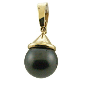 タヒチアンパール黒真珠ランクAAA14kシンプルスタイルブラックパールトップ
