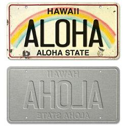 【ハワイライセンスプレート・ナンバープレート】おしゃれなヴィンテージ風デザイン<ALOHA>・インテリア・壁飾り・ディスプレイ・看板・デコレーション・お土産