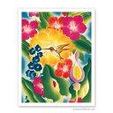 【ハワイアン アートプリント】ビーチ・海・山・植物・景色・風景Flower and Hummingbird - Moore-McCormack Lines(花とハミングバード ムーア・マコーマックライン)C. A. Rosser 1949(C. A. Rosser)ハワイアン インテリア・アート・絵画・アーティスト