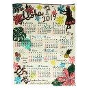 【ハワイアンカレンダー2019年】カレンダー2019・壁掛け・ポスター・フラガール・ホヌ・モンステラ・ハイビスカス・Aloha・ハワイアンインテリア雑貨日用品