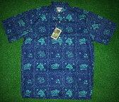 アロハシャツ|REYN SPOONER・LAHAINA SAILER(レインスプーナー・ラハイナセイラー)|LS009|半袖|ブルー(青)|メンズ|ハワイ州旗|ツートーン|コットン100%(スプーナークロス)|裏生地仕様|ボタンダウン(プルオーバー)|送料無料商品