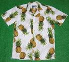 アロハシャツ|WAIMEACASUALS(ワイメアカジュアルズ)|WC020|半袖|メンズ|ホワイト(白)|パイナップル|パイン|フルーツ|果物|ハワイアン|南国|コットン100%|開襟(オープンカラー)|1万円以上お買い上げで送料無料