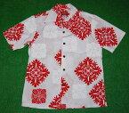 アロハシャツ|AKIMI DESIGNS HAWAII(アキミ デザインズ ハワイ)|AK176|半袖|メンズ|ホワイト(白)|レッド(赤)|ハワイアンキルト柄(モンステラ・パンの木)|コットン35%ポリ65%|開襟(オープンカラー)|1万円以上で送料無料!
