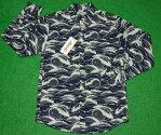 アロハシャツ|AVANTI(アヴァンティ)|AVC001L|長袖|メンズ|ネイビー(紺)|海|波|うねり|チューブ|ハワイアン|南国|プレゼント|コットン100%|表地仕様|ボタンダウン(オープンカラー)|送料無料商品