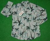アロハシャツ|AVANTI SILK(アヴァンティ シルク)|AVC003L|長袖|メンズ|グレー(ライトシルバー)|ヤシの木|ココツリー|ハワイアン|南国|コットン100%|表地仕様|ボタンダウン(オープンカラー)|送料無料商品