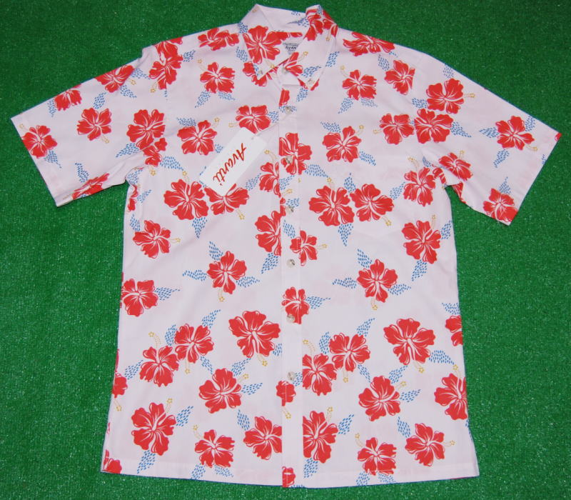 アロハシャツ|AVANTI(アヴァンティ)|AVC021|半袖|メンズ|シアピンク|新品|花・フラワー柄(ハイビスカス)|ハワイアン|リゾート|プレゼント|コットン100%|ボタンダウン|表地|フルオープン|送料無料
