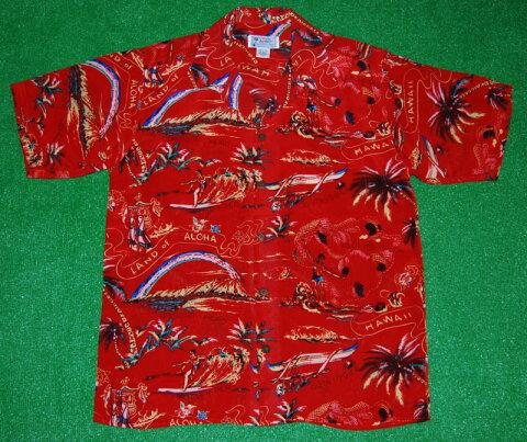 アロハシャツ AVANTI(アヴァンティ) A1186RD 半袖 メンズ レッド(赤) 洋柄 ハワイアン リゾート 魚 カメハメハ大王 サーフィン おしゃれ 人気 ヴィンテージレプリカ シルク100% 開襟(オープンカラー) 送料無料