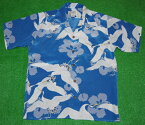 アロハシャツ|AVANTISILK(アヴァンティシルク)|A1191BLU|半袖|メンズ|スチールブルー(青・水色)|鶴|和柄|きもの|ヴィンテージレプリカ|シルク100%|開襟(オープンカラー)|送料無料商品