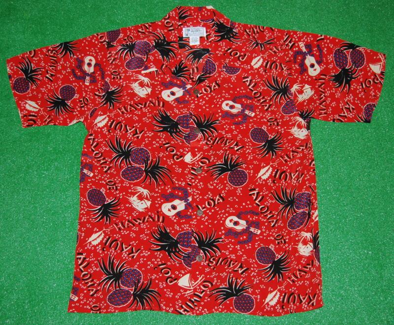 アロハシャツ|AVANTI SILK(アヴァンティ シルク)|A818RD|半袖|メンズ|レッド(赤)|ハワイ|パイナップル・パイン|レイ|ウクレレ|楽器|リゾート|ヴィンテージレプリカ|シルク100%|開襟(オープンカラー)|送料無料商品