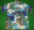 アロハシャツ|GOBAREFOOT(ゴーベアフット)|GB022|半袖|メンズ|ブルー系|ハワイアン|海|ヤシの木|ココナッツツリー|ダイヤモンドヘッド|リゾート|レーヨン100%(表地)|ノーマルシャツスタイル(フルオープン)|送料無料商品
