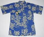 アロハシャツ/メンズ/半袖/青色/GOBAREFOOT(ゴーベアフット)/GB042/フラワー・花柄/リーフ・葉柄/ハワイ/おしゃれ/プレゼント/大きいサイズ/コットン100%(裏地)/ノーマル襟(プルオープン)/送料無料