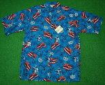アロハシャツ|GOBAREFOOT(ゴーベアフット)|GB044|半袖|メンズ|アクアブルー|ハワイアン|ヤシの木|カメハメハ大王|ハワイ州旗|コットン55%ポリエステル45%(表地)|ノーマルシャツスタイル(フルオープン)|送料無料