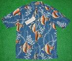 アロハシャツ|KAHALA(カハラ)|KHL016|半袖|メンズ|ネイビー・スレイトブルー(紺・青)|熱帯魚柄(ツノダシ・アンダーザシー・海中)|コットン100%(表地)|ノーマルシャツスタイル(ノーマルカラー)|送料無料商品