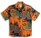 半袖アロハシャツ|LALAKAI(ララカイ)|HL044BK|ブラック(黒)|オレンジ|鹿柄・紅葉・金閣寺・京都|メンズ|和柄|シルク100%|開襟(オープンカラー)|送料無料商品!