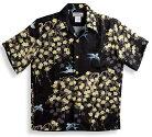 半袖アロハシャツ|MAKANALEI(マカナレイ)|AMT067EXBK|ブラック(黒)|和柄|しだれ桜|夜桜|つばめ|鳥|シルク(平織りジャガードシルク)100%|開襟(オープンカラー)|送料無料商品