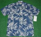 アロハシャツ|PARADISEFOUND(パラダイスファウンド)|PF187|半袖|メンズ|ブルー(青)|花・フラワー柄|バードオブパラダイス|葉・リーフ柄|モンステラ|シダ|ハワイアン|南国|リゾート|レーヨン100%|開襟(オープンカラー)|送料無料商品