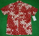 アロハシャツ|PARADISEFOUND(パラダイスファウンド)|PF191|半袖|メンズ|レッド(赤)|花・フラワー|レフア|バードオブパラダイス|葉・リーフ|モンステラ|シダ|ハワイアン|南国|リゾート|レーヨン100%|ツートーン|開襟(オープンカラー)|送料無料商品