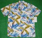 アロハシャツ|PARADISEFOUND(パラダイスファウンド)|PF194|半袖|メンズ|ホワイト(白)|花・フラワー柄|バードオブパラダイス|ハワイアン|南国|リゾート|レーヨン100%|開襟(オープンカラー)|送料無料商品