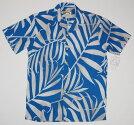 アロハシャツ/メンズ/半袖/大きいサイズ/葉柄・リーフ/水色・サックス・青/PARADISEFOUND(パラダイスファウンド)/PF213/プレゼント/ブランド/結婚式/レーヨン100%/開襟(オープンカラー)