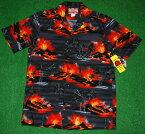 アロハシャツ RJC(アールジェイシー) RJC070 半袖 メンズ ダークグレー(灰色) 山・キラウエア火山・溶岩・噴火・ハワイ観光) コットン100% 開襟(オープンカラー) 1万円以上お買い上げで送料無料