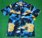 アロハシャツ|RJC(アールジェイシー)|RJC111|半袖|メンズ|ブルー(青)|ハワイアン|アイランド|島|海|浜辺|風景|ヤシの木|コットン100%|開襟(オープンカラー)|1万円以上お買い上げで送料無料