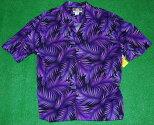 アロハシャツ|RJC(アールジェイシー)|RJC124|半袖|メンズ|ブラック(黒)|パープル(紫)|葉柄(シダ)|ハワイアン|人気|おしゃれ|大きいサイズ|レーヨン100%|開襟(オープンカラー)|送料無料