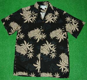 アロハシャツ|TWO PALMS(ツーパームス)|TWO015|半袖|メンズ|ブラック(黒)|パイナップル柄(パイン)|ハワイ諸島|地図|レーヨン100%|開襟(オープンカラー)|1万円以上で送料無料(10P04Jul15)
