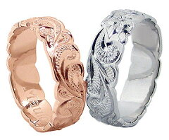 ハワイアンジュエリー ハワイアン ペアリング 刻印無料 ハワイアンジュエリー指輪 手彫りハワイアンジュエリー フラット カットアウト スクロール プルメリア 幅6mm メッセージ MAULOA マウロア ハワイアンジュエリー ハワイアン ペアリング ハワイアンジュエリー