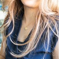 ハワイアンジュエリーネックレスイニシャルレディース女性メンズ男性K14/K18スクロール柄またはイニシャルが選べるラウンドゴールドペンダントトップイエローゴールドシンプル(付属チェーンなし)刻印無料apd1039プレゼントギフト