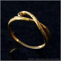 リング指輪ハワイアンジュエリーレディース女性K18ゴールド18金イエローゴールドインフィニティスクロールピンキーリング・ファランジリング・ミディリングari1280/新作プレゼントギフト