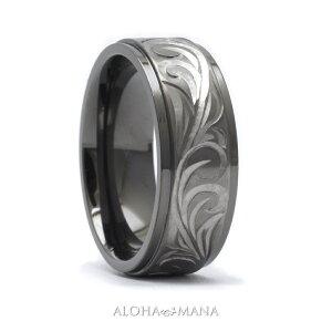 ハワイアンジュエリー リング 指輪 アクセサリー レディース 女性 メンズ 男性 ブラックチタン ダブルトーン ブラックxシルバー 手彫り スクロール リング bri1313/ プレゼント ギフト
