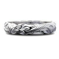リング指輪ハワイアンジュエリーレディース女性メンズ男性ペアリングにオススメ大切な人の幸せ願うお守りの波模様スクロールデザインカットアウトシルバー925リングfri1461svプレゼントギフト