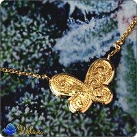 ネックレスハワイアンジュエリーアクセサリーレディース女性(Weliana)K18ゴールドバタフライペンダントイエローゴールド蝶々18金wne1072プレゼントギフト
